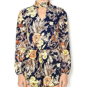 NWT Keyhole Long Sleeve Romper in Navy Floral